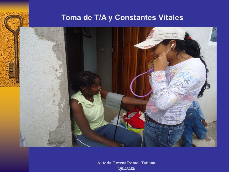 Autoria: Lorena Romo - Tatiana Quiranza Toma de T/A y Constantes Vitales