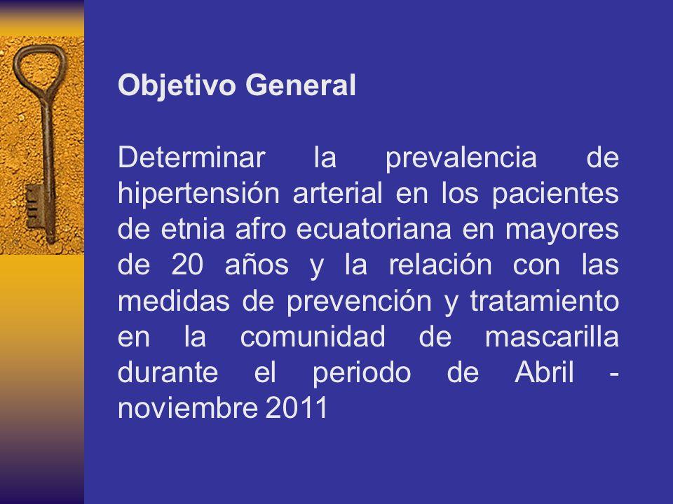 Objetivo General Determinar la prevalencia de hipertensión arterial en los pacientes de etnia afro ecuatoriana en mayores de 20 años y la relación con las medidas de prevención y tratamiento en la comunidad de mascarilla durante el periodo de Abril - noviembre 2011