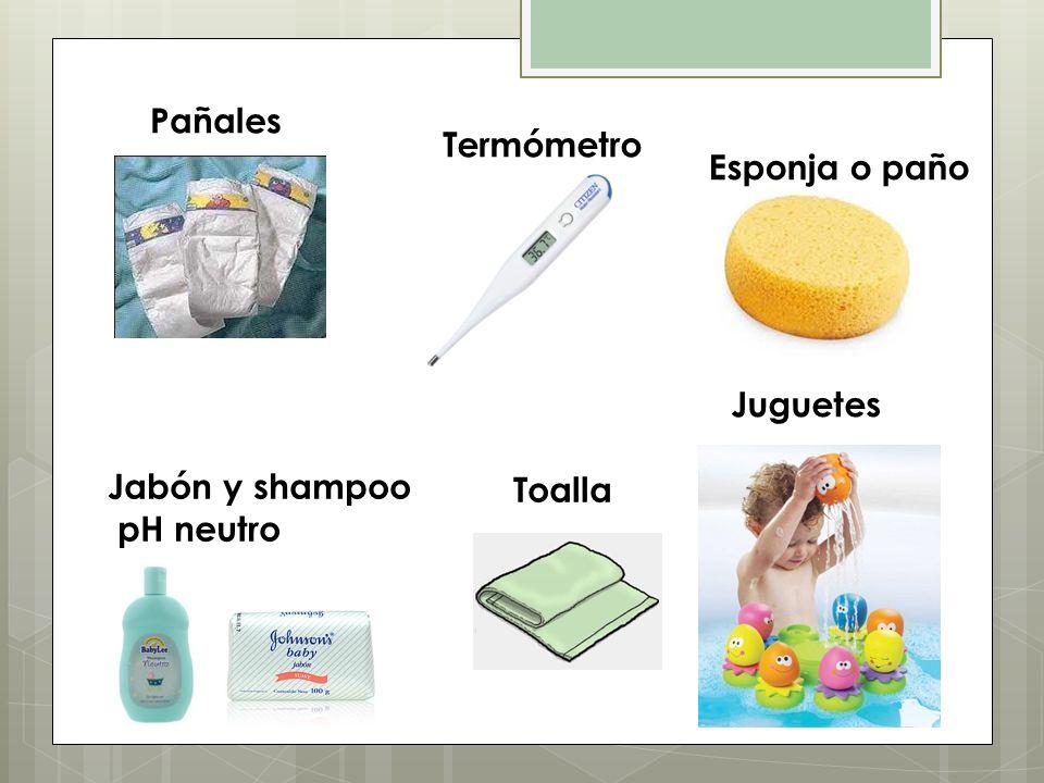 Jabón y shampoo pH neutro Toalla Juguetes Esponja o paño Termómetro Pañales