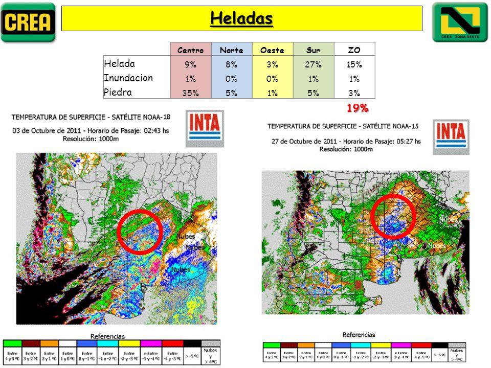 Heladas CentroNorteOesteSurZO Helada 9%8%3%27%15% Inundacion 1%0% 1% Piedra 35%5%1%5%3% 19%
