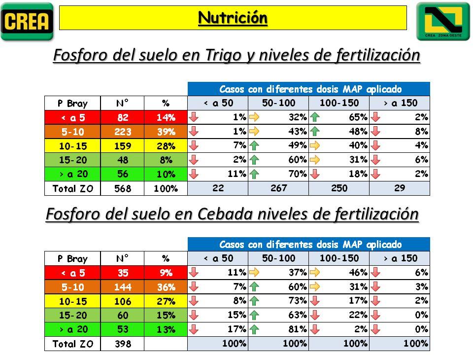 Nutrición Fosforo del suelo en Trigo y niveles de fertilización Fosforo del suelo en Cebada niveles de fertilización