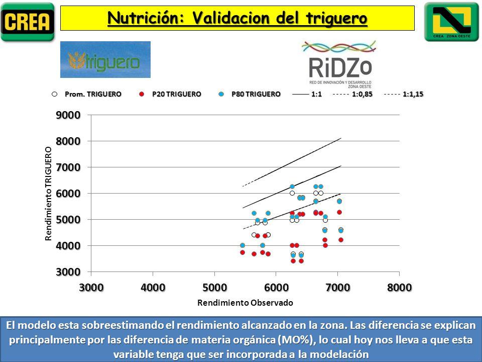 Nutrición: Validacion del triguero El modelo esta sobreestimando el rendimiento alcanzado en la zona.