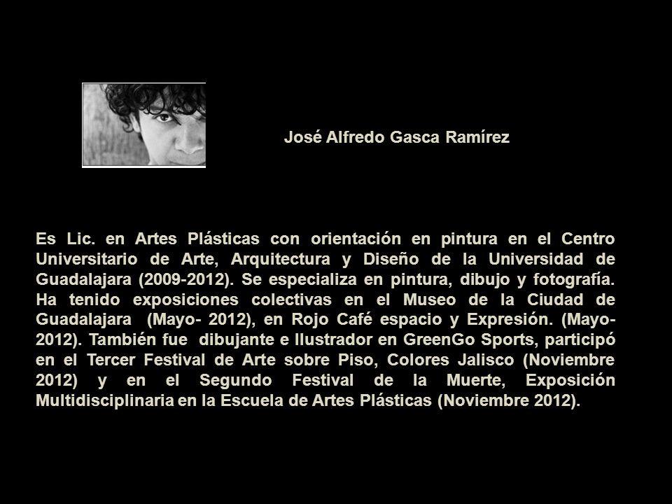 Es Lic. en Artes Plásticas con orientación en pintura en el Centro Universitario de Arte, Arquitectura y Diseño de la Universidad de Guadalajara (2009