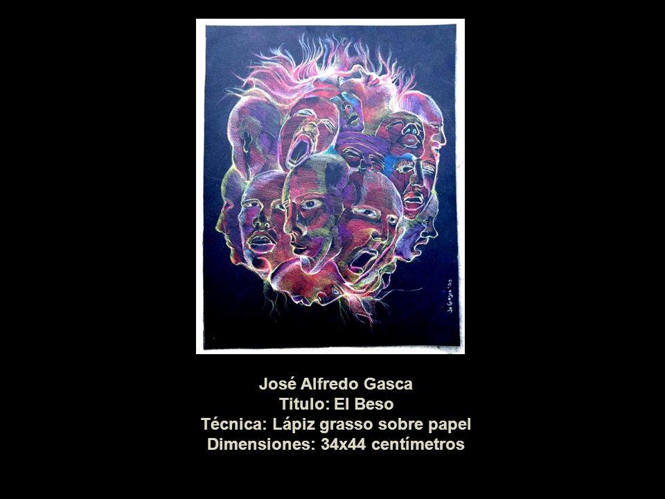 José Alfredo Gasca Titulo: El Beso Técnica: Lápiz grasso sobre papel Dimensiones: 34x44 centímetros