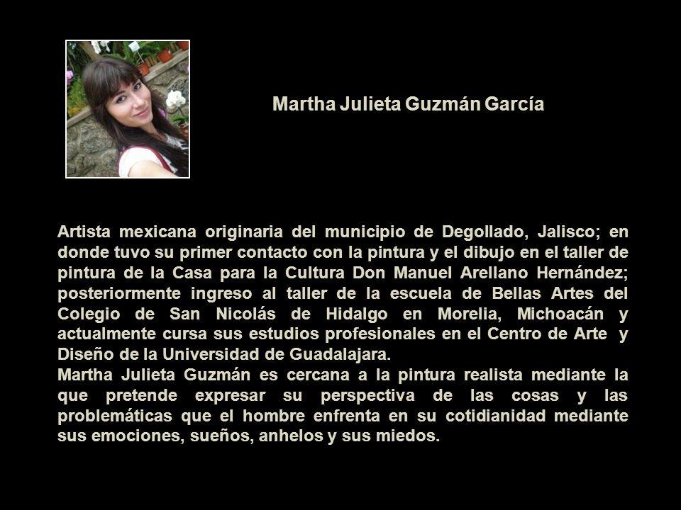 Artista mexicana originaria del municipio de Degollado, Jalisco; en donde tuvo su primer contacto con la pintura y el dibujo en el taller de pintura d