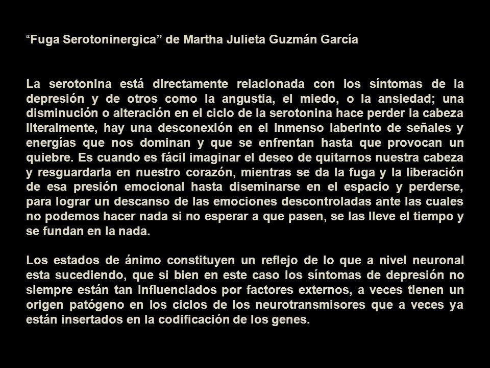 Fuga Serotoninergica de Martha Julieta Guzmán García La serotonina está directamente relacionada con los síntomas de la depresión y de otros como la a