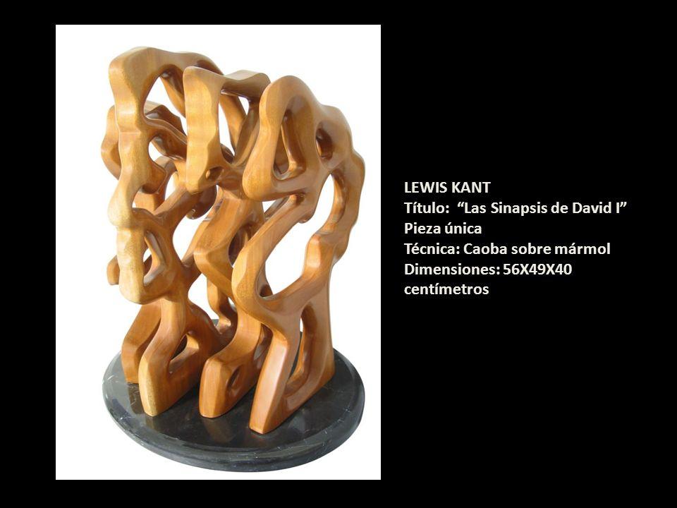 LEWIS KANT Título: Las Sinapsis de David I Pieza única Técnica: Caoba sobre mármol Dimensiones: 56X49X40 centímetros