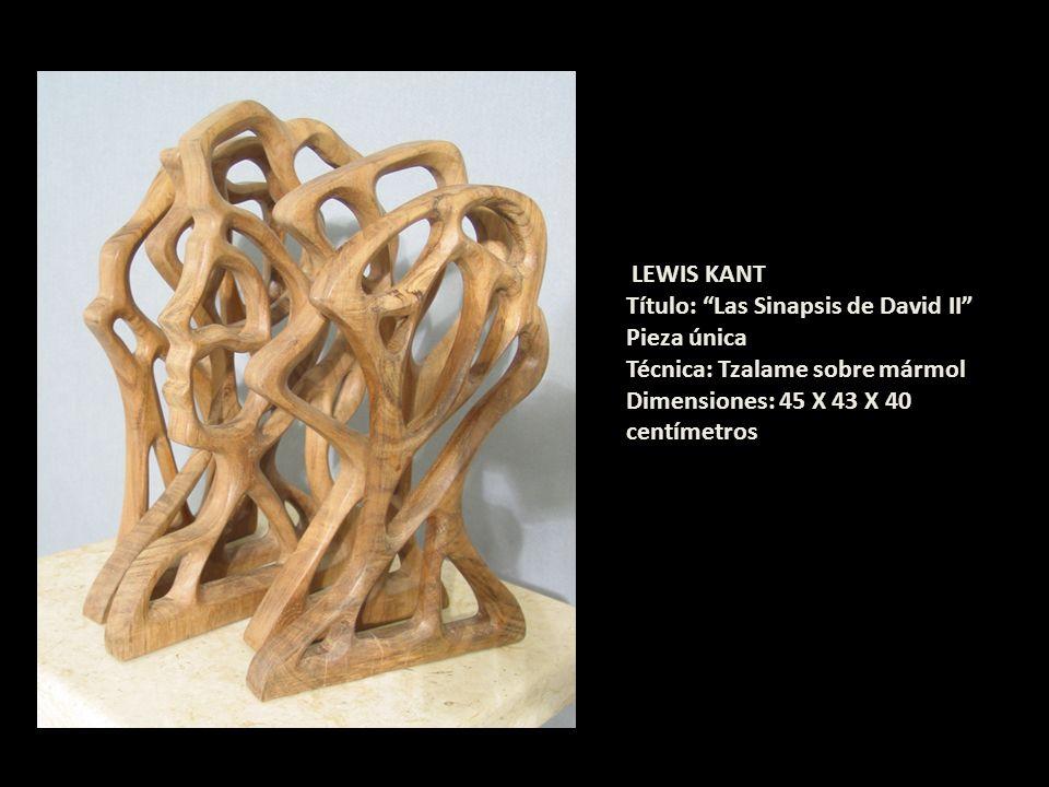 LEWIS KANT Título: Las Sinapsis de David II Pieza única Técnica: Tzalame sobre mármol Dimensiones: 45 X 43 X 40 centímetros