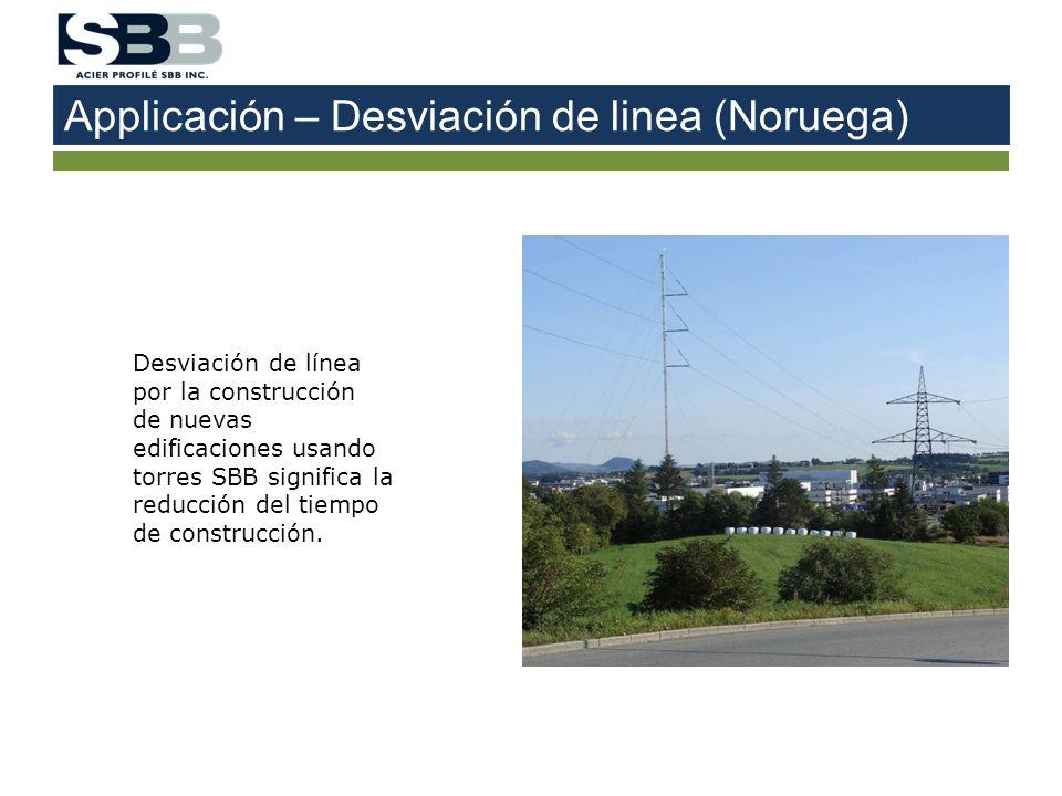 Applicación – Desviación de linea (Noruega) Desviación de línea por la construcción de nuevas edificaciones usando torres SBB significa la reducción d