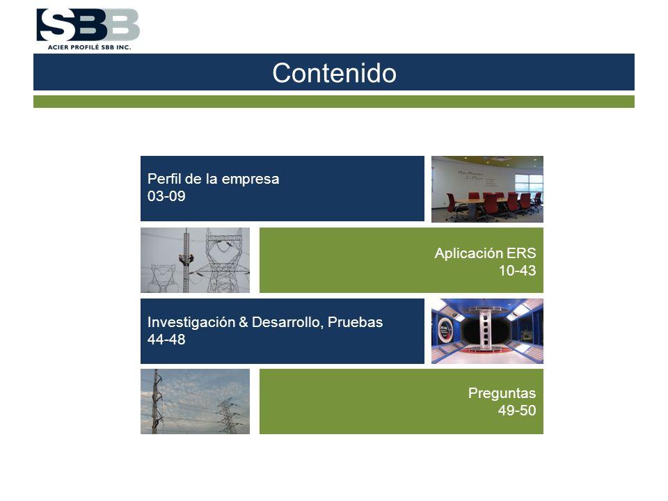 Contenido Perfil de la empresa 03-09 Aplicación ERS 10-43 Investigación & Desarrollo, Pruebas 44-48 Preguntas 49-50