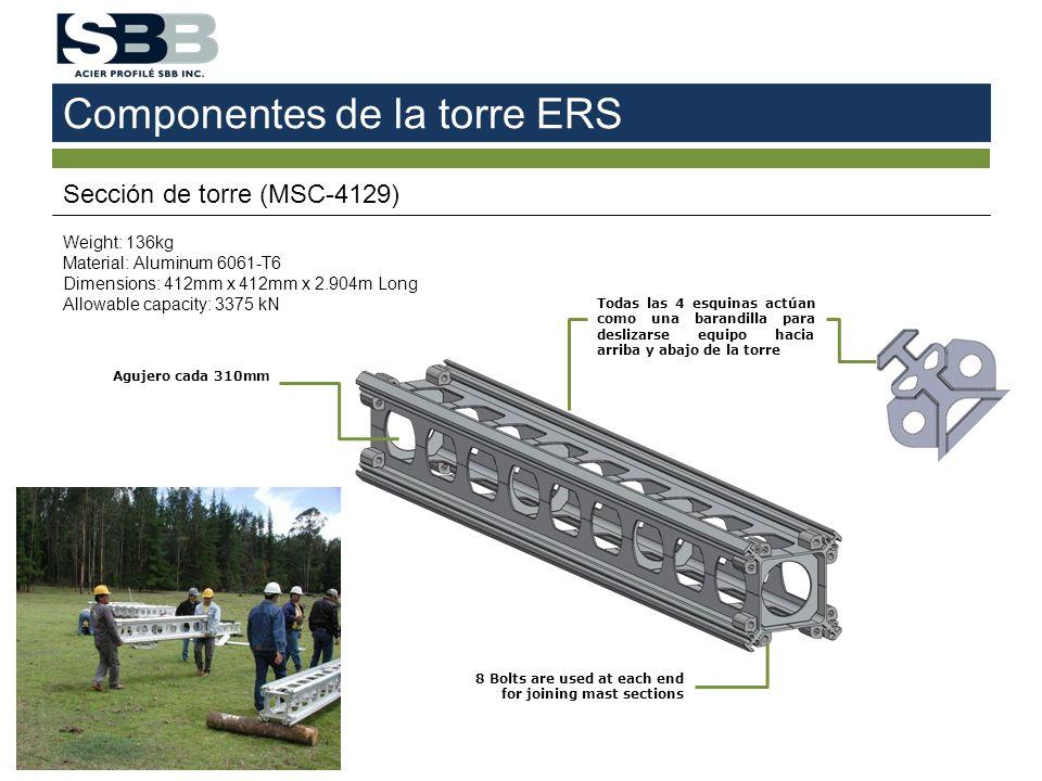 Componentes de la torre ERS Sección de torre (MSC-4129) Weight: 136kg Material: Aluminum 6061-T6 Dimensions: 412mm x 412mm x 2.904m Long Allowable cap