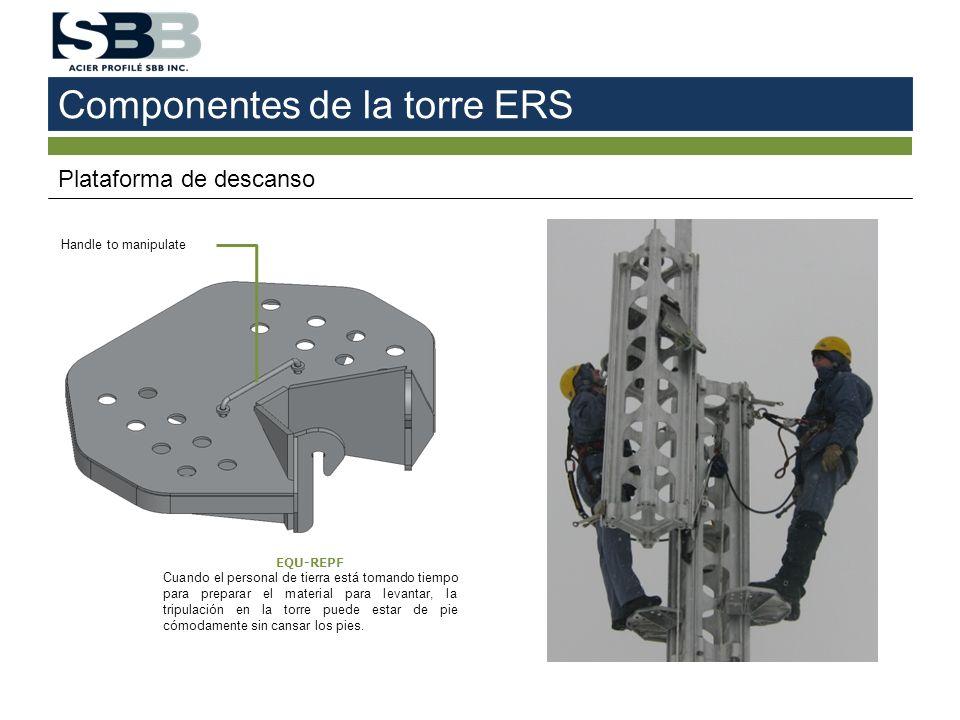 Componentes de la torre ERS Plataforma de descanso EQU-REPF Cuando el personal de tierra está tomando tiempo para preparar el material para levantar,