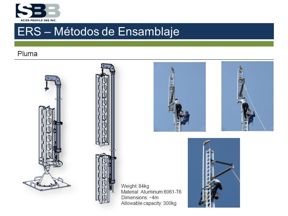 ERS – Métodos de Ensamblaje Pluma Weight: 84kg Material: Aluminum 6061-T6 Dimensions: ~4m Allowable capacity: 300kg