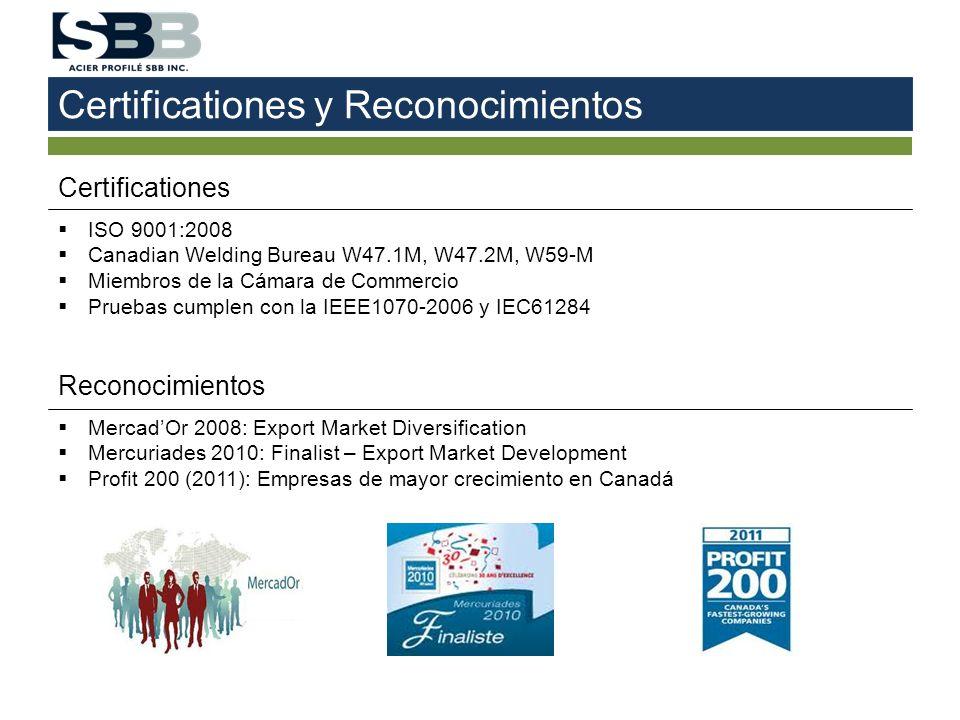 Certificationes y Reconocimientos Certificationes ISO 9001:2008 Canadian Welding Bureau W47.1M, W47.2M, W59-M Miembros de la Cámara de Commercio Prueb