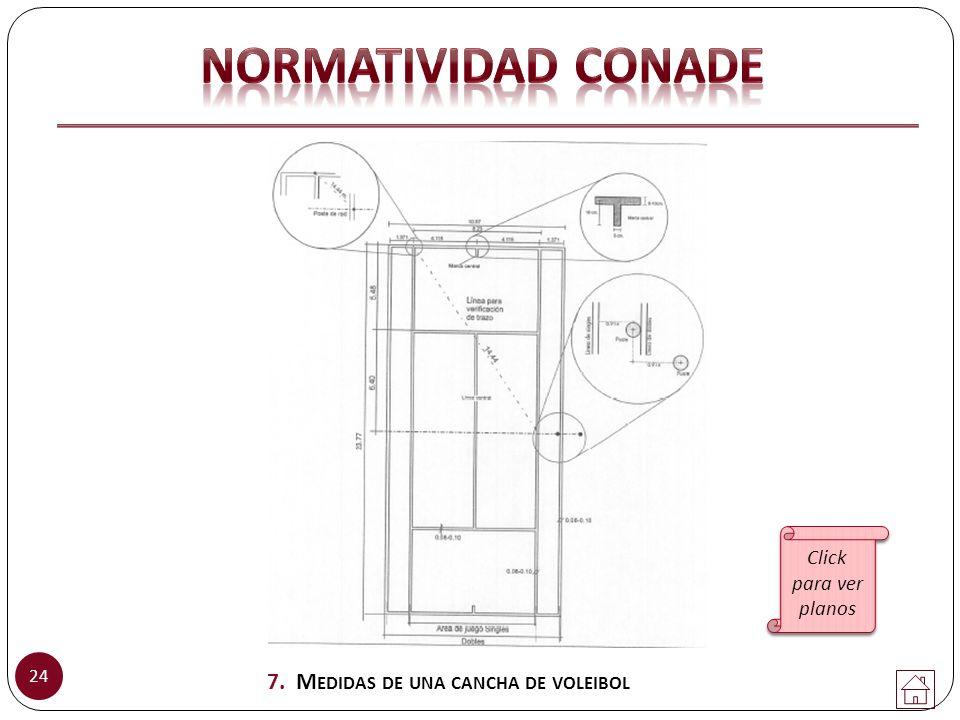 24 7. M EDIDAS DE UNA CANCHA DE VOLEIBOL Click para ver planos Click para ver planos