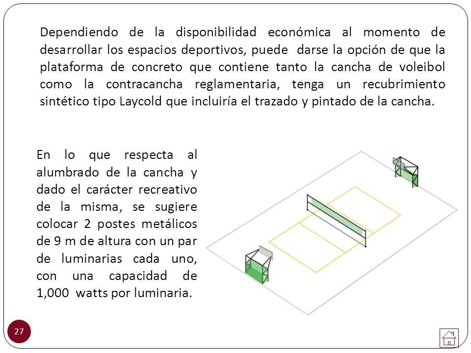 27 Dependiendo de la disponibilidad económica al momento de desarrollar los espacios deportivos, puede darse la opción de que la plataforma de concret