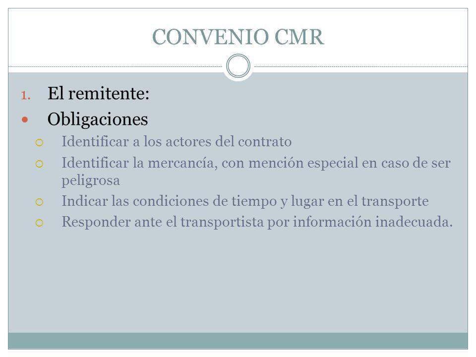 CONVENIO CMR 1. El remitente: Obligaciones Identificar a los actores del contrato Identificar la mercancía, con mención especial en caso de ser peligr