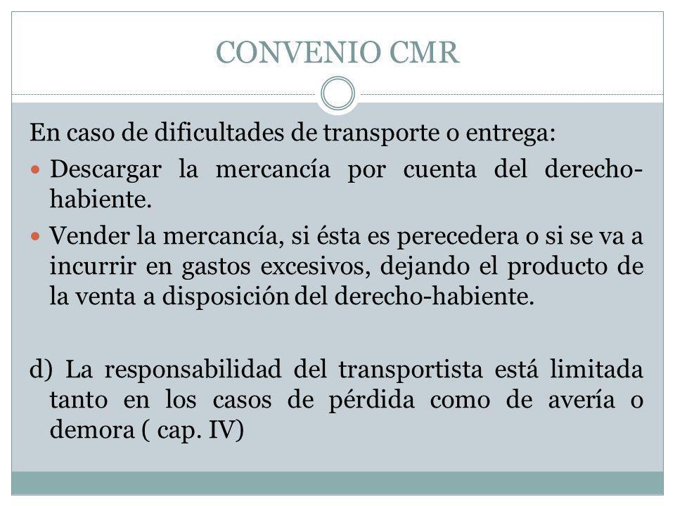 CONVENIO CMR En caso de dificultades de transporte o entrega: Descargar la mercancía por cuenta del derecho- habiente. Vender la mercancía, si ésta es