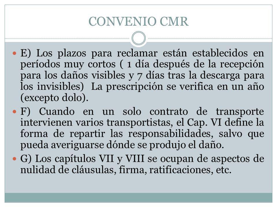 CONVENIO CMR E) Los plazos para reclamar están establecidos en períodos muy cortos ( 1 día después de la recepción para los daños visibles y 7 días tr