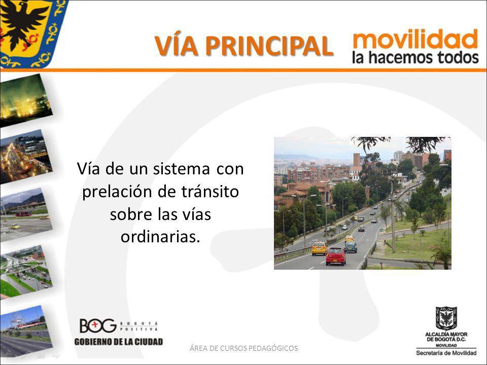 VÍA PRINCIPAL Vía de un sistema con prelación de tránsito sobre las vías ordinarias. ÁREA DE CURSOS PEDAGÓGICOS