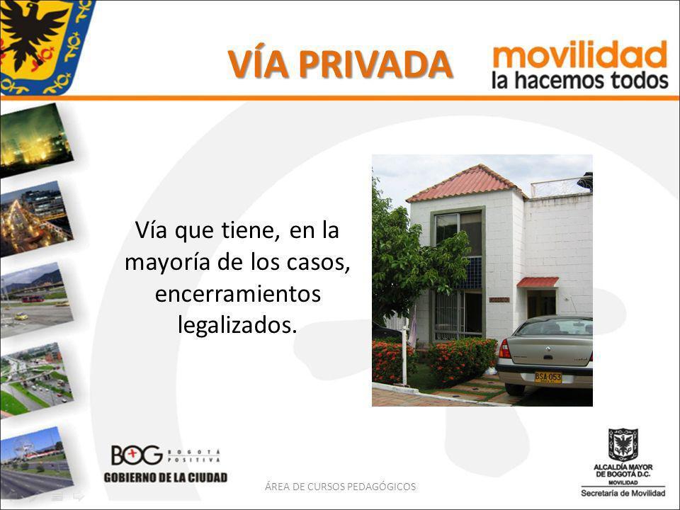 VÍA PRIVADA Vía que tiene, en la mayoría de los casos, encerramientos legalizados. ÁREA DE CURSOS PEDAGÓGICOS