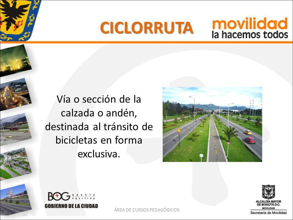 CICLORRUTA Vía o sección de la calzada o andén, destinada al tránsito de bicicletas en forma exclusiva. ÁREA DE CURSOS PEDAGÓGICOS