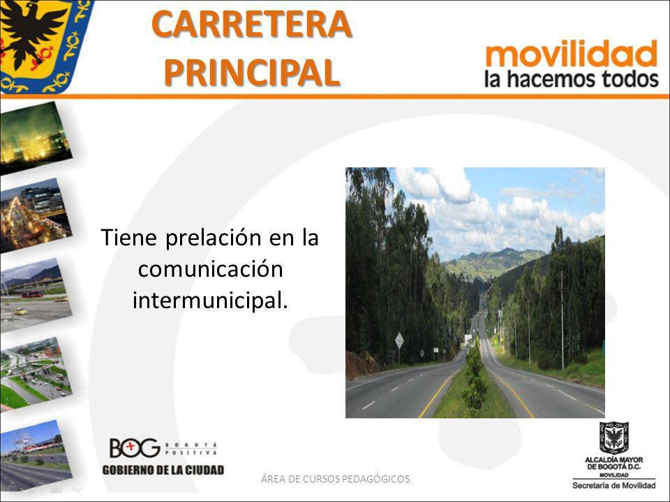 CARRETERA PRINCIPAL Tiene prelación en la comunicación intermunicipal. ÁREA DE CURSOS PEDAGÓGICOS