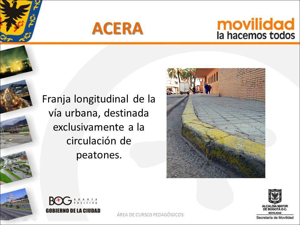 ACERA Franja longitudinal de la vía urbana, destinada exclusivamente a la circulación de peatones. ÁREA DE CURSOS PEDAGÓGICOS
