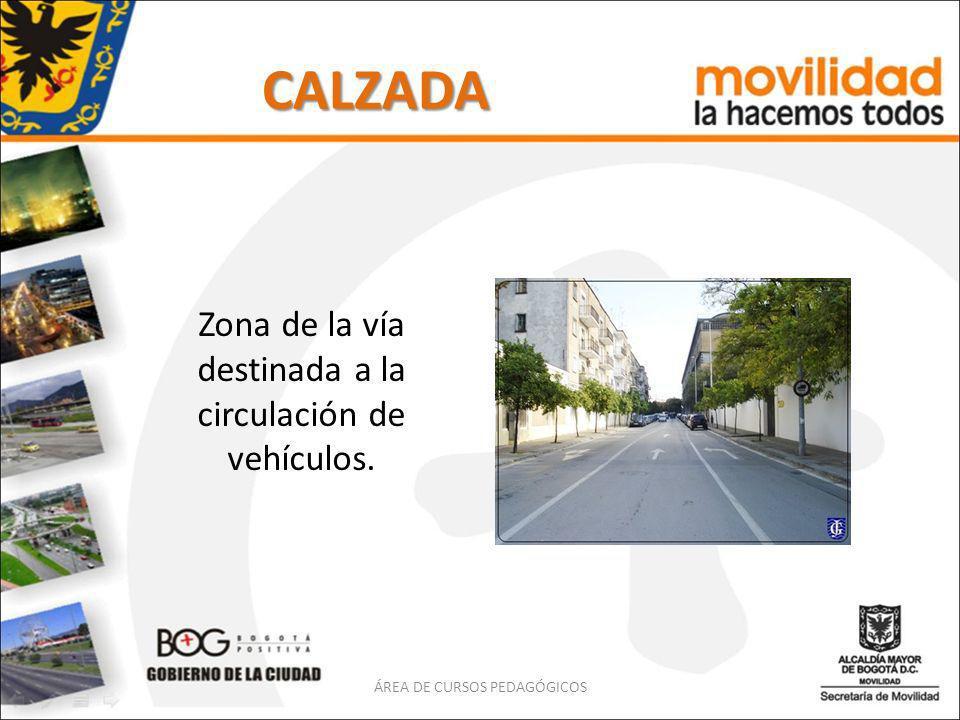 CALZADA Zona de la vía destinada a la circulación de vehículos. ÁREA DE CURSOS PEDAGÓGICOS