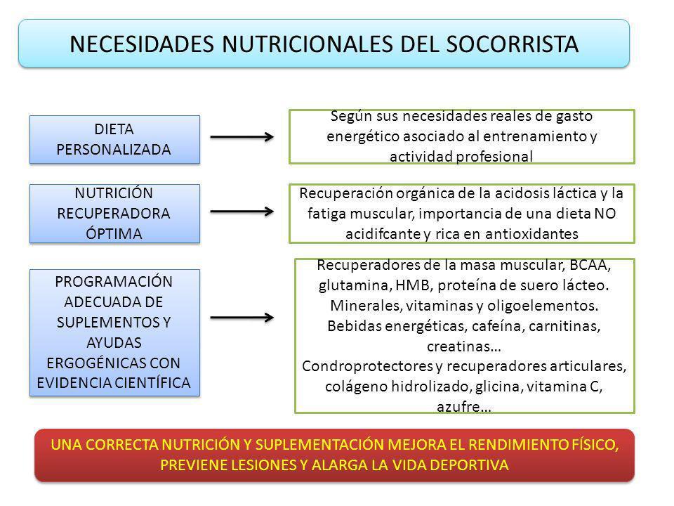 NECESIDADES NUTRICIONALES DEL SOCORRISTA DIETA PERSONALIZADA NUTRICIÓN RECUPERADORA ÓPTIMA Según sus necesidades reales de gasto energético asociado al entrenamiento y actividad profesional Recuperación orgánica de la acidosis láctica y la fatiga muscular, importancia de una dieta NO acidifcante y rica en antioxidantes PROGRAMACIÓN ADECUADA DE SUPLEMENTOS Y AYUDAS ERGOGÉNICAS CON EVIDENCIA CIENTÍFICA Recuperadores de la masa muscular, BCAA, glutamina, HMB, proteína de suero lácteo.