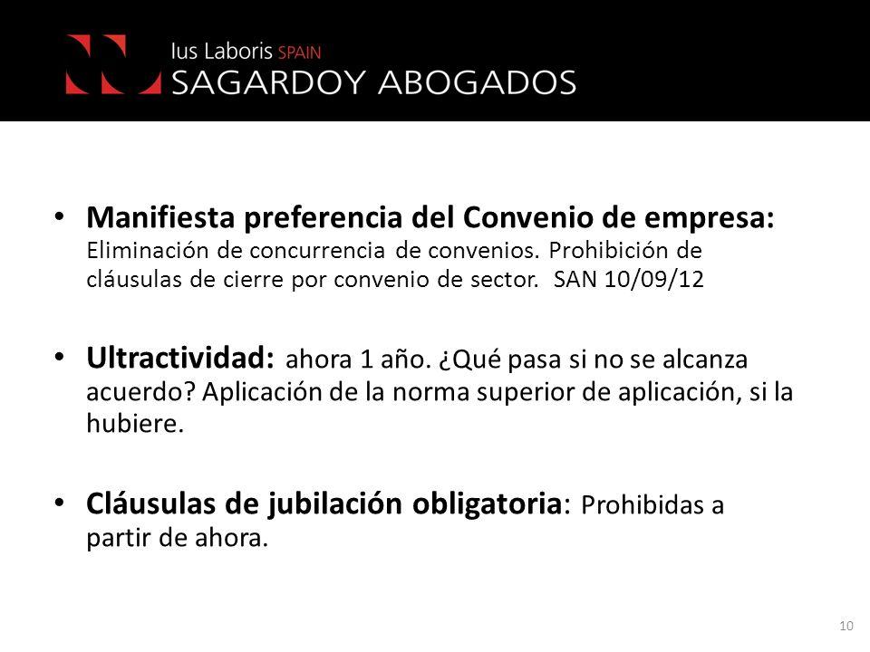 Manifiesta preferencia del Convenio de empresa: Eliminación de concurrencia de convenios. Prohibición de cláusulas de cierre por convenio de sector. S