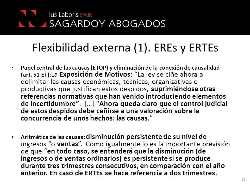 Flexibilidad externa (1). EREs y ERTEs Papel central de las causas (ETOP) y eliminación de la conexión de causalidad (art. 51 ET) : La Exposición de M