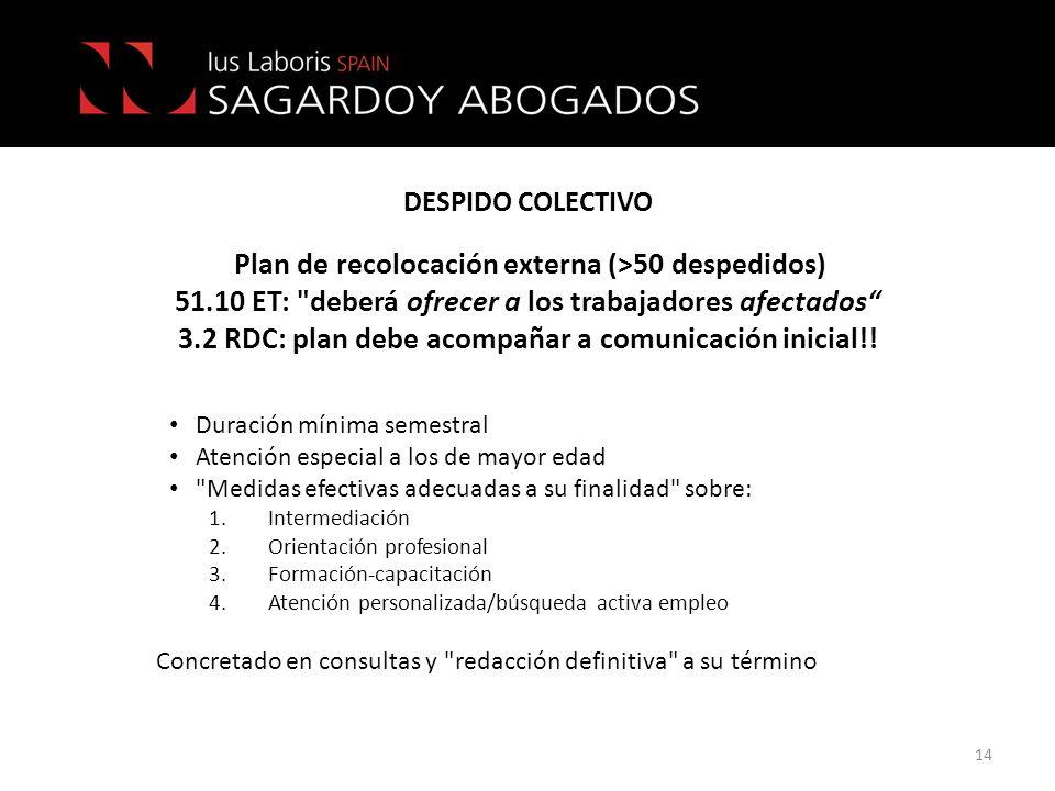 DESPIDO COLECTIVO Plan de recolocación externa (>50 despedidos) 51.10 ET: