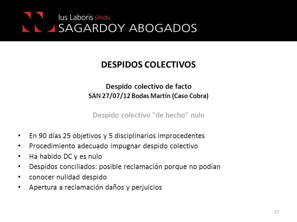 DESPIDOS COLECTIVOS 17 Despido colectivo de facto SAN 27/07/12 Bodas Martín (Caso Cobra) Despido colectivo