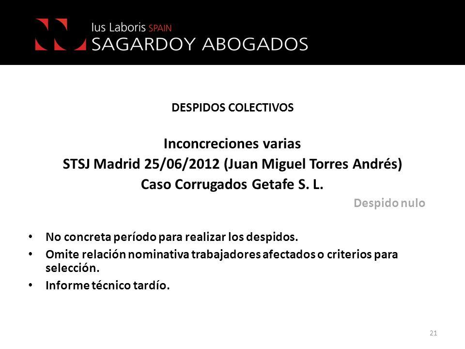 DESPIDOS COLECTIVOS Inconcreciones varias STSJ Madrid 25/06/2012 (Juan Miguel Torres Andrés) Caso Corrugados Getafe S. L. Despido nulo No concreta per