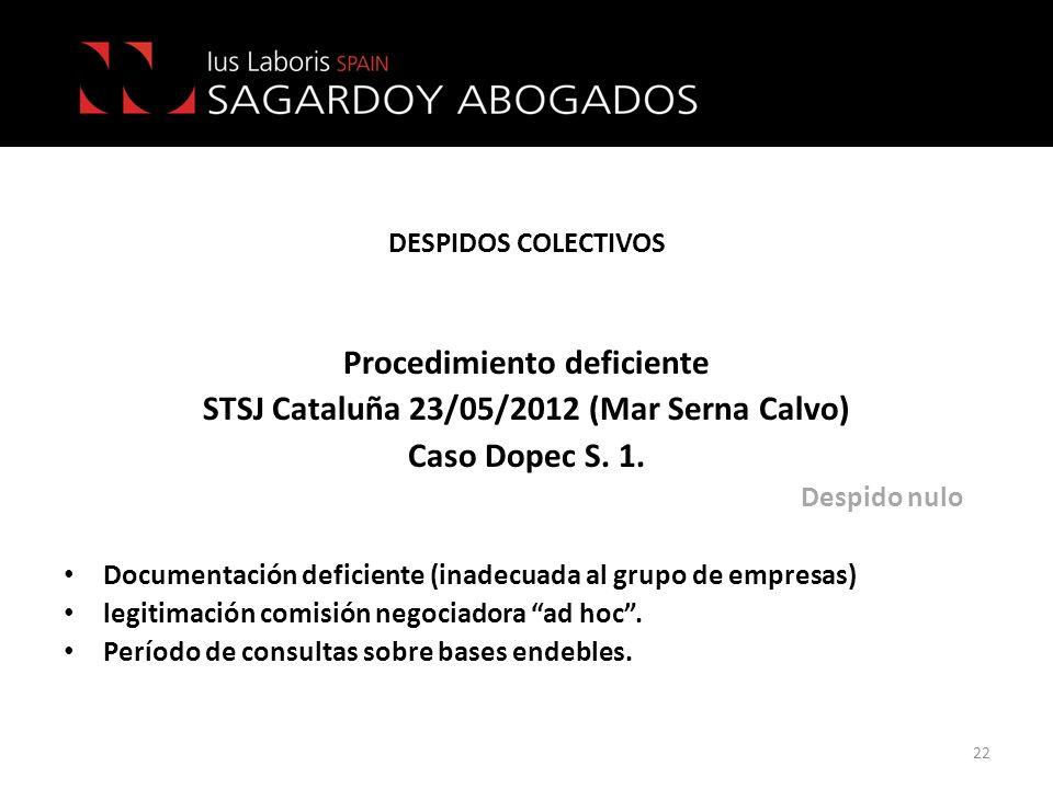 DESPIDOS COLECTIVOS Procedimiento deficiente STSJ Cataluña 23/05/2012 (Mar Serna Calvo) Caso Dopec S. 1. Despido nulo Documentación deficiente (inadec