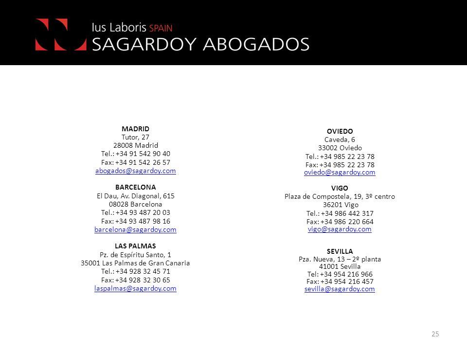 25 OVIEDO Caveda, 6 33002 Oviedo Tel.: +34 985 22 23 78 Fax: +34 985 22 23 78 oviedo@sagardoy.com VIGO Plaza de Compostela, 19, 3º centro 36201 Vigo T