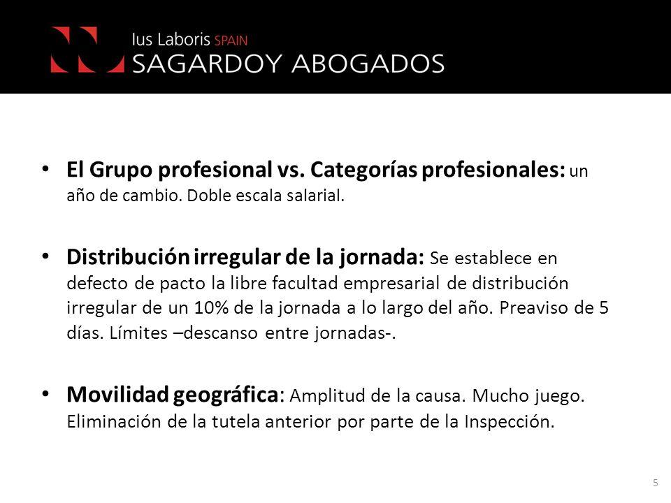El Grupo profesional vs. Categorías profesionales: un año de cambio. Doble escala salarial. Distribución irregular de la jornada: Se establece en defe