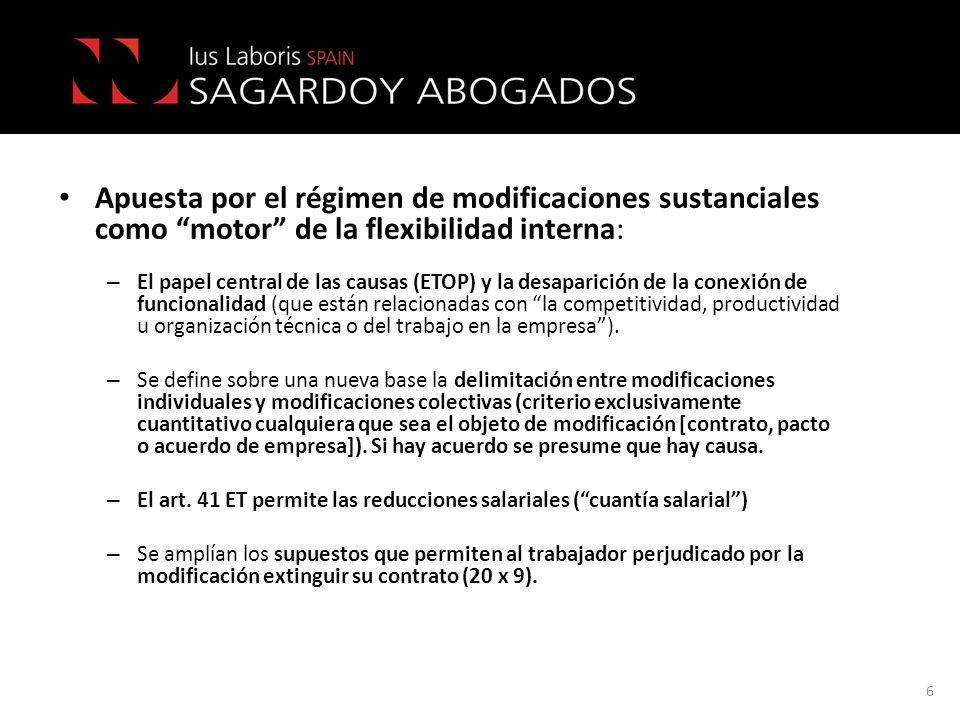 Apuesta por el régimen de modificaciones sustanciales como motor de la flexibilidad interna: – El papel central de las causas (ETOP) y la desaparición