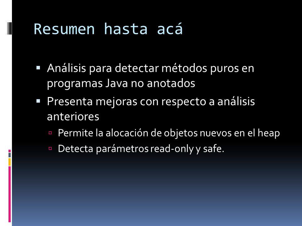 Resumen hasta acá Análisis para detectar métodos puros en programas Java no anotados Presenta mejoras con respecto a análisis anteriores Permite la alocación de objetos nuevos en el heap Detecta parámetros read-only y safe.