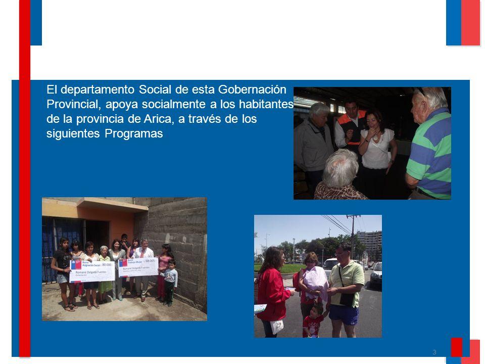 3 El departamento Social de esta Gobernación Provincial, apoya socialmente a los habitantes de la provincia de Arica, a través de los siguientes Progr