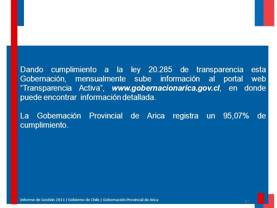 47 Informe de Gestión 2011 | Gobierno de Chile | Gobernación Provincial de Arica Dando cumplimiento a la ley 20.285 de transparencia esta Gobernación,