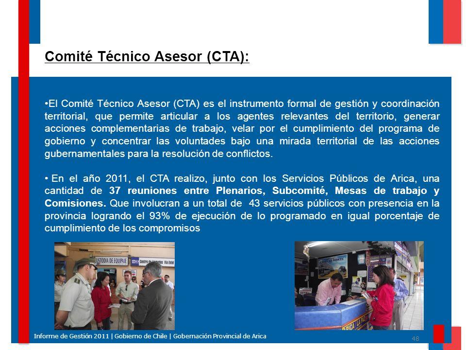 48 Informe de Gestión 2011 | Gobierno de Chile | Gobernación Provincial de Arica Comité Técnico Asesor (CTA): El Comité Técnico Asesor (CTA) es el ins