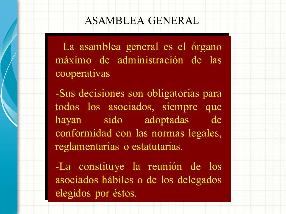 ÓRGANOS DE UNA COOPERATIVA ADMINISTRACIÓN GERENTE CONTROL Y VIGILANCIA ASAMBLEA GENERAL CONSEJO DE ADMINISTRACIÓN JUNTA DE VIGILANCIA REVISOR FISCAL