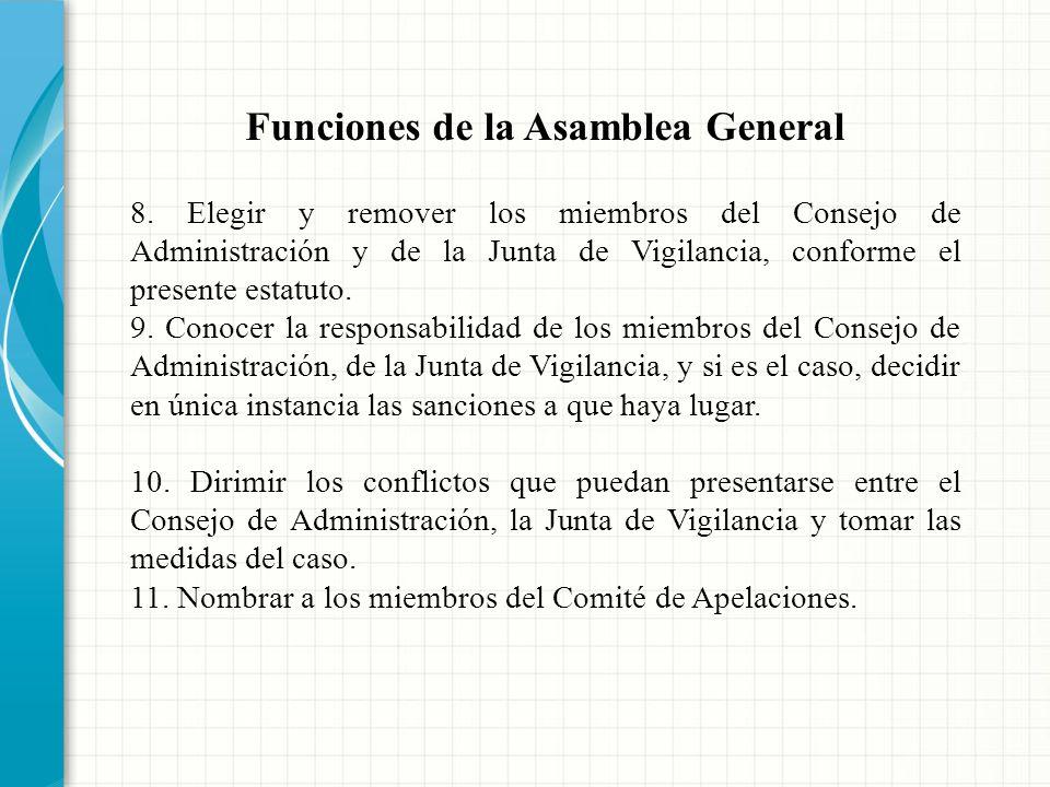 Funciones de la Asamblea General 1. Establecer las políticas y directrices generales de la Cooperativa para el cumplimiento del objeto social. 2. Apro