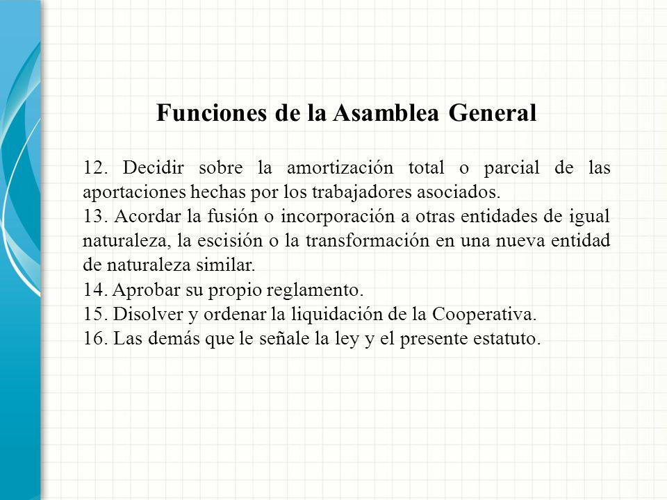 Funciones de la Asamblea General 8. Elegir y remover los miembros del Consejo de Administración y de la Junta de Vigilancia, conforme el presente esta