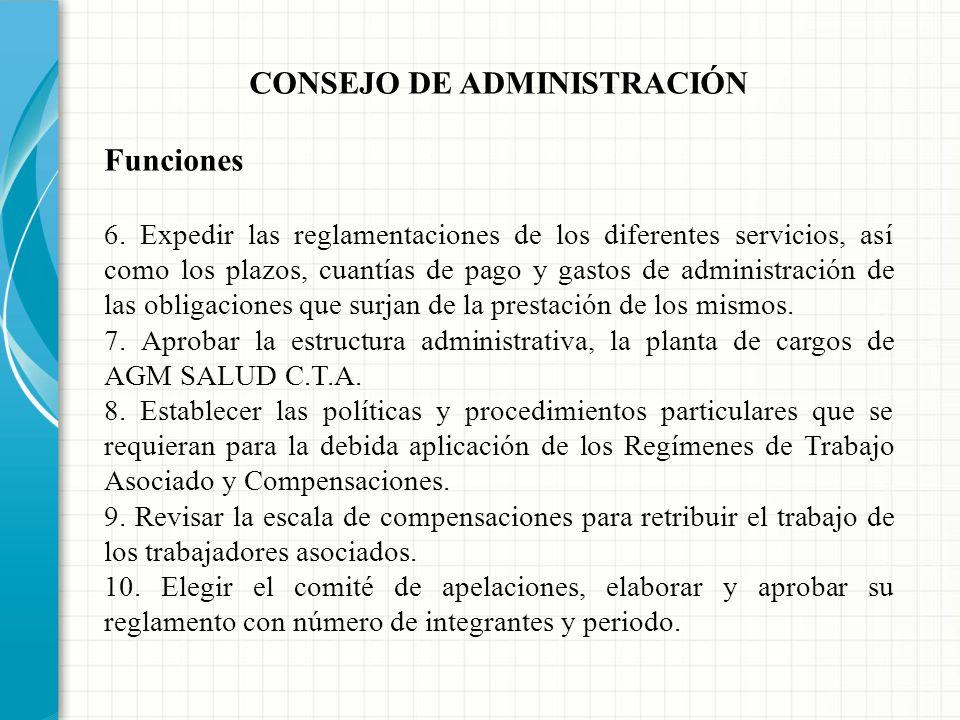 CONSEJO DE ADMINISTRACIÓN Funciones 1. Adoptar su propio reglamento y elegir a sus dignatarios. 2. Cumplir y hacer cumplir el estatuto, los reglamento