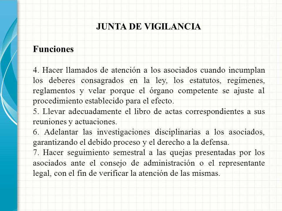 JUNTA DE VIGILANCIA Funciones 1. Velar porque los actos de los órganos de administración se ajusten a las prescripciones legales, estatutarias y regla