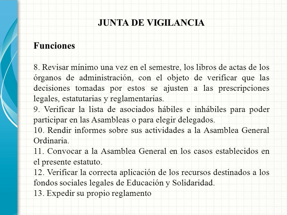 JUNTA DE VIGILANCIA Funciones 4. Hacer llamados de atención a los asociados cuando incumplan los deberes consagrados en la ley, los estatutos, regímen