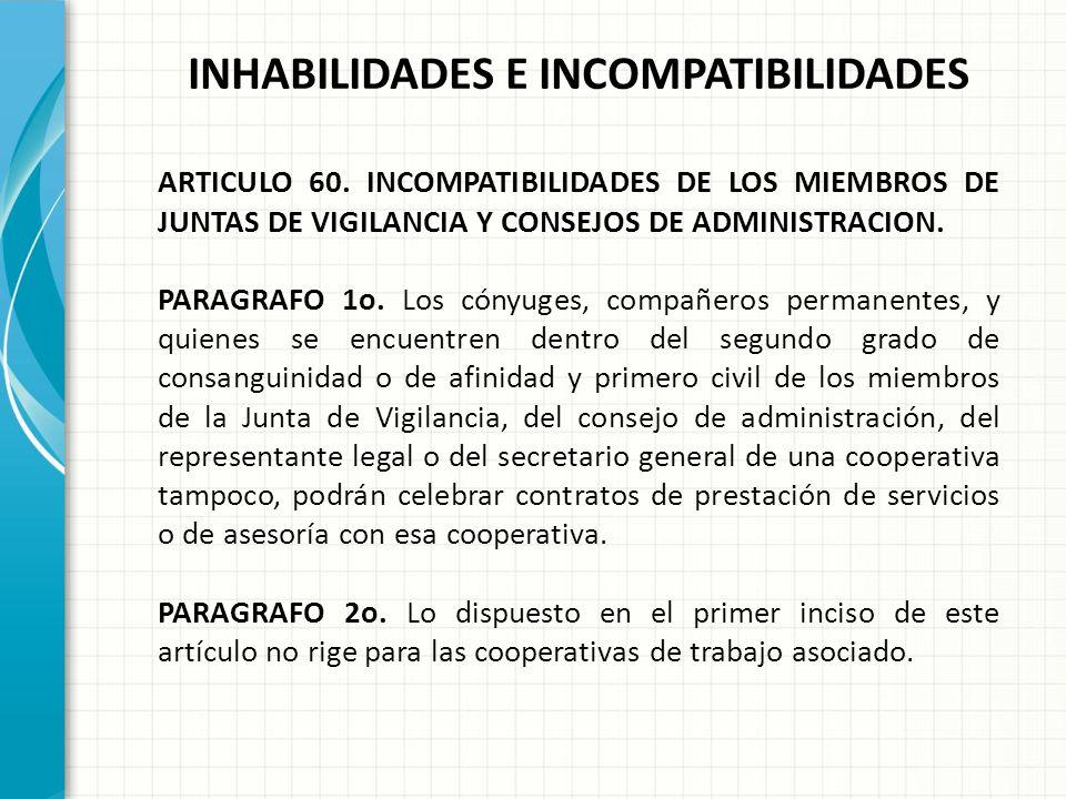 INHABILIDADES E INCOMPATIBILIDADES ARTICULO 60. INCOMPATIBILIDADES DE LOS MIEMBROS DE JUNTAS DE VIGILANCIA Y CONSEJOS DE ADMINISTRACION. Los miembros